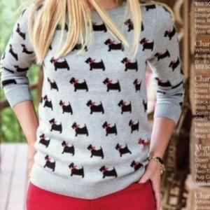 SCOTTIE DOG PRINT sweater black gray knit TOP L